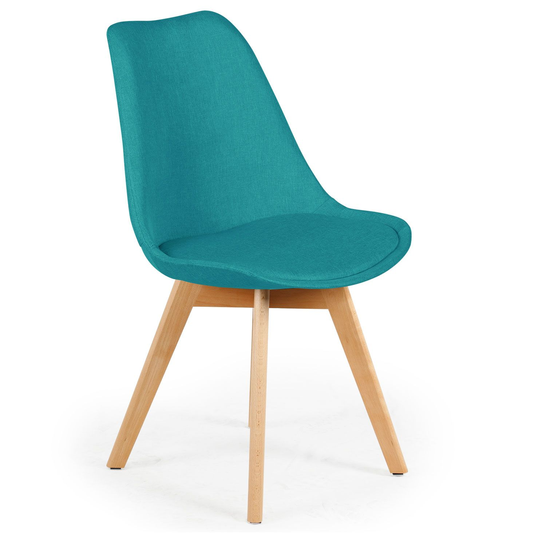 Lot De 4 Chaises Scandinaves Conor Tissu Bleu Vert En 2020 Tissu Bleu 4 Chaises Et Chaise Scandinave