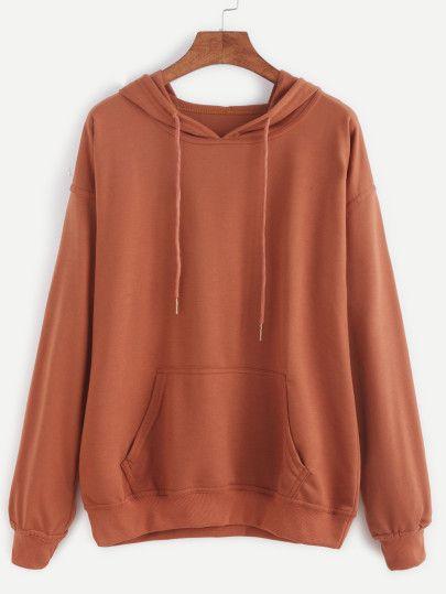 Kapuzensweatshirt Drop Schulter-khaki