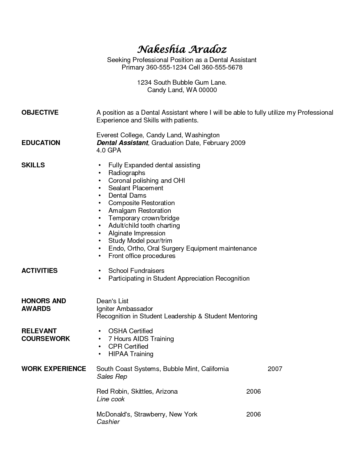 Dental Assistant Resume Skills  Resumes For Dental Assistants