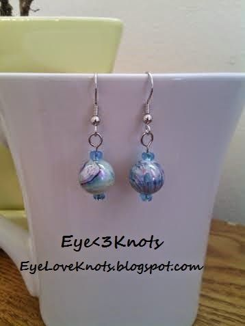 Small Blue and Black Swirl Dangle Earrings on EyeLoveKnots. Hypoallergenic. Limited Supply!