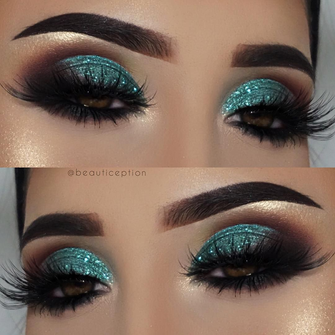 """@beautiception on Instagram: """"Teal glitter anyone? #makeup details @anastasiabeverlyhills dipbrow in ebony, glitter adhesive & glitter in mystic teal @narsissist…"""""""