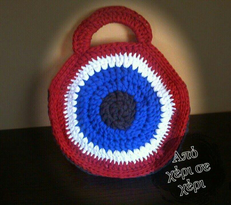 986d4c4e38 Πλεκτή τσάντα μάτι  crochet eye bag