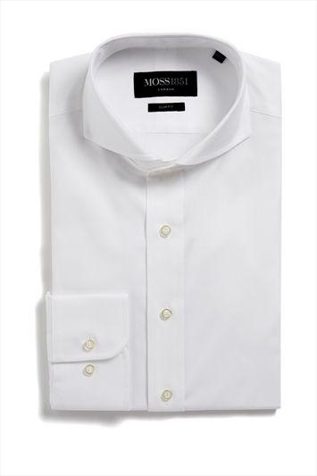 d00618ddf Moss 1851 Single Cuff Slim Fit Extreme Cutaway Collar Oxford Formal Shirt  White