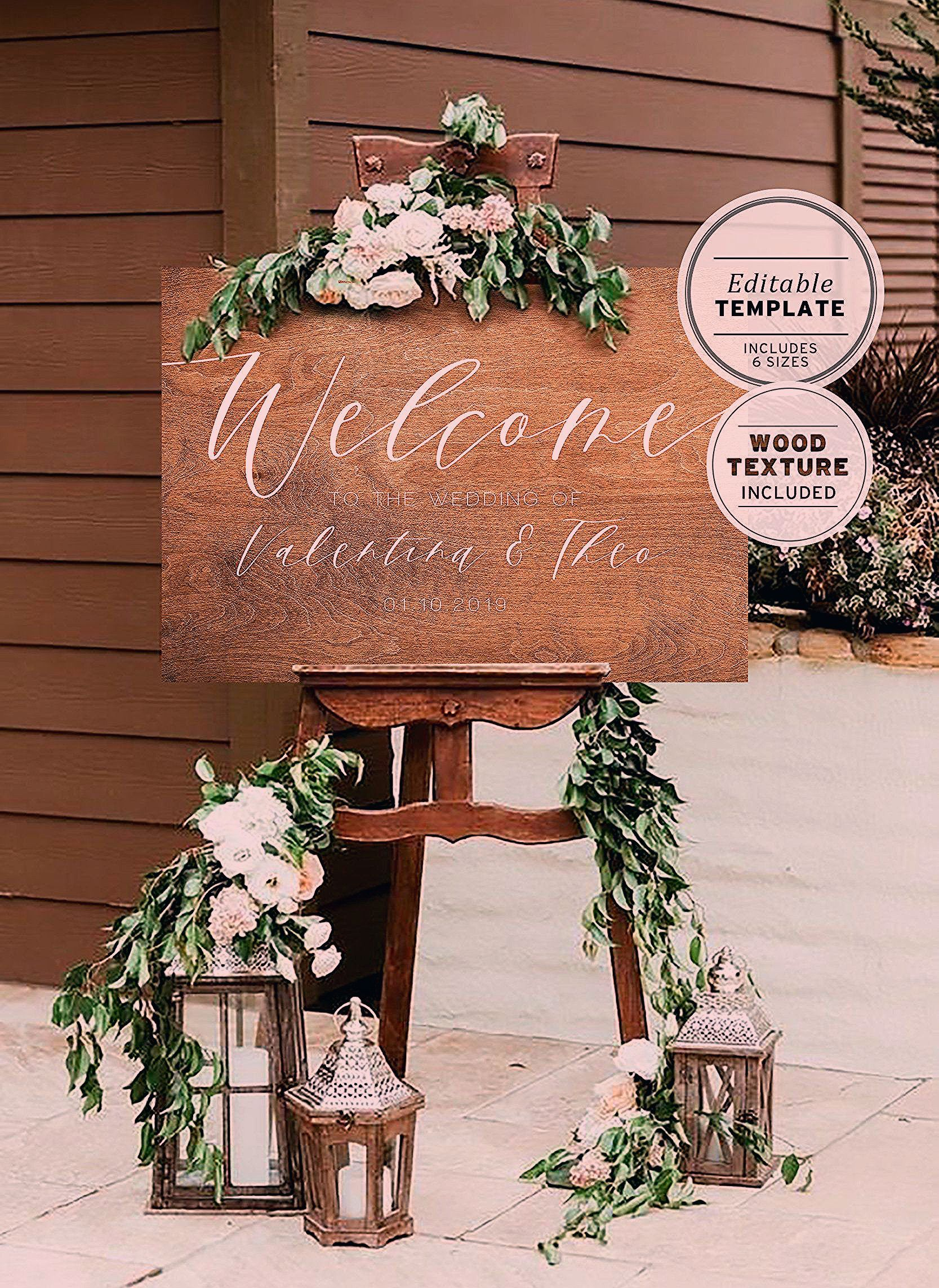 Photo of Wood Textured Wedding Welcome Sign, Editable Template, Customized Digital Download