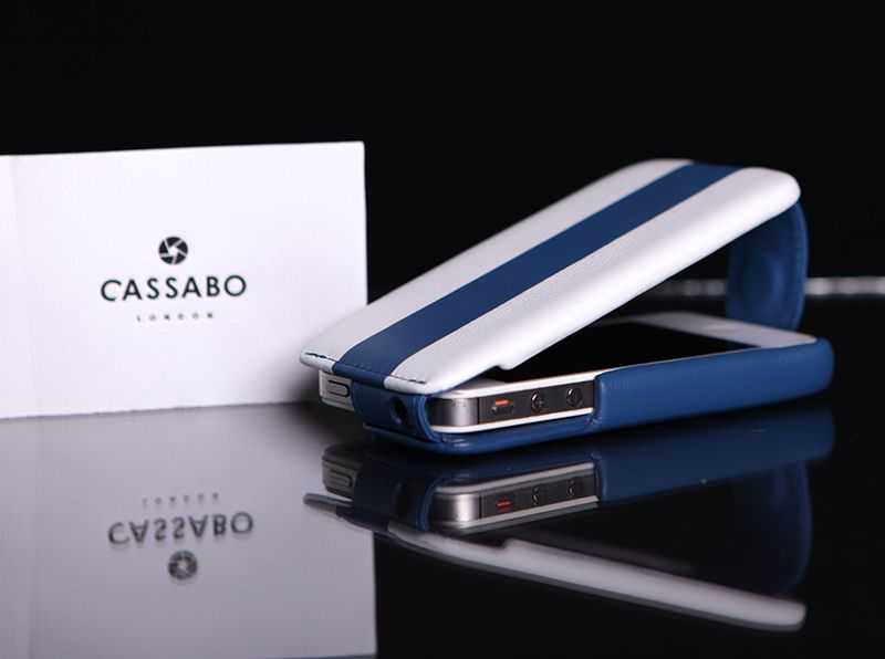 Leather phone case in the blue and white