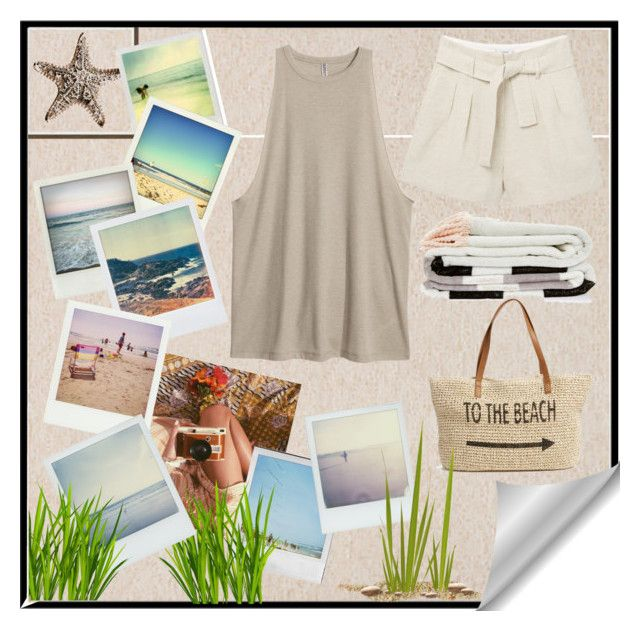 """""""Memories of the Beach"""" by galaxyrewind ❤ liked on Polyvore featuring Pottery Barn, Polaroid, MANGO, Straw Studios, beach and beachbabe"""