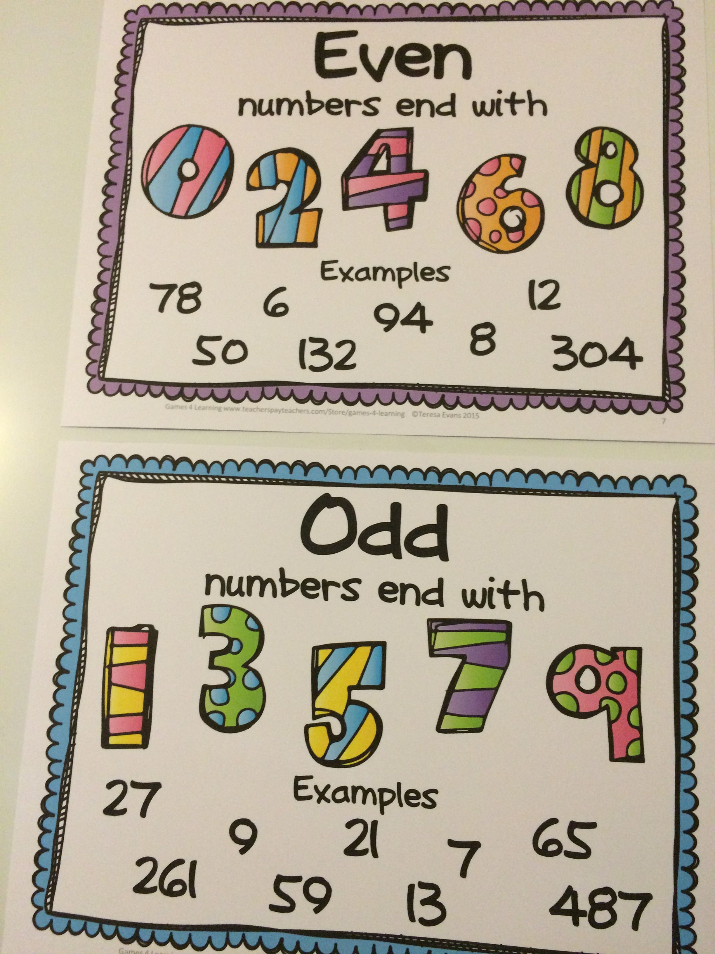 medium resolution of Free Posters for Odd and Even Numbers   Free math