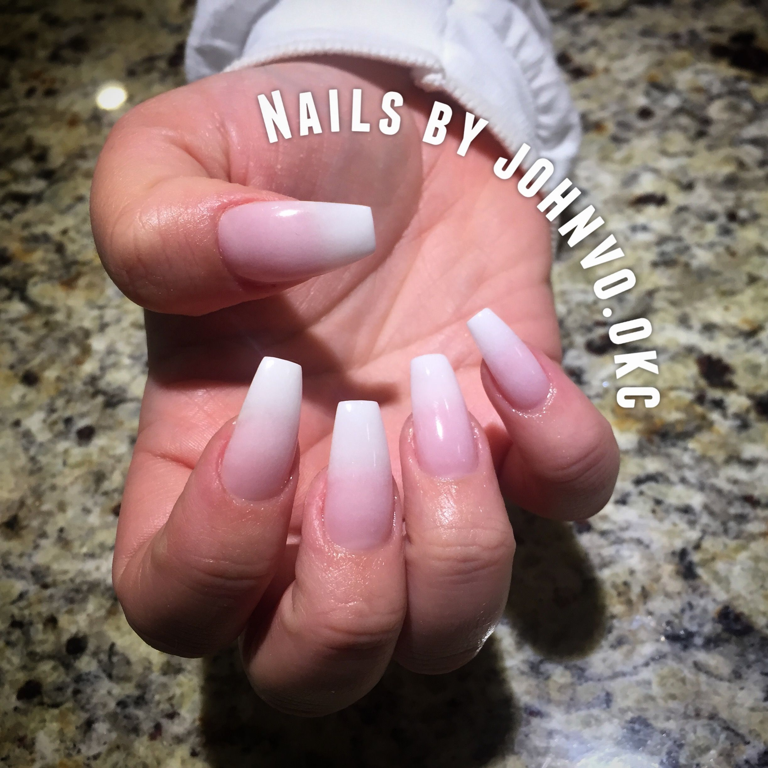 French Ombre/ baby boomer ballerina shaped nails with tip extension ...