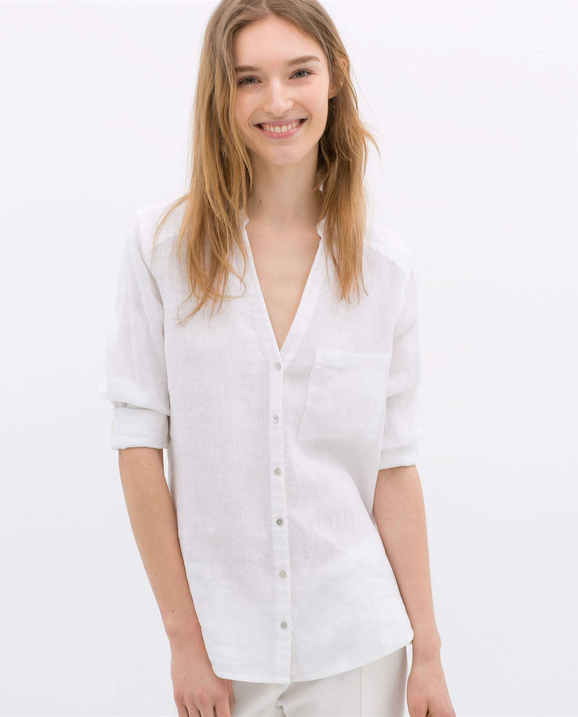 Image 1 of linen blouse with pocket from zara clothes for White linen ladies shirt