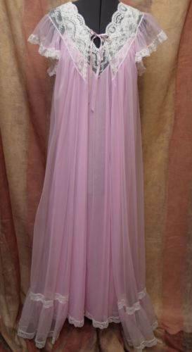 1fb303b83a TOSCA-PEIGNOIR-ROBE-NIGHTGOWN-SET-S-Chiffon-Lace-Lingerie-Pink ...