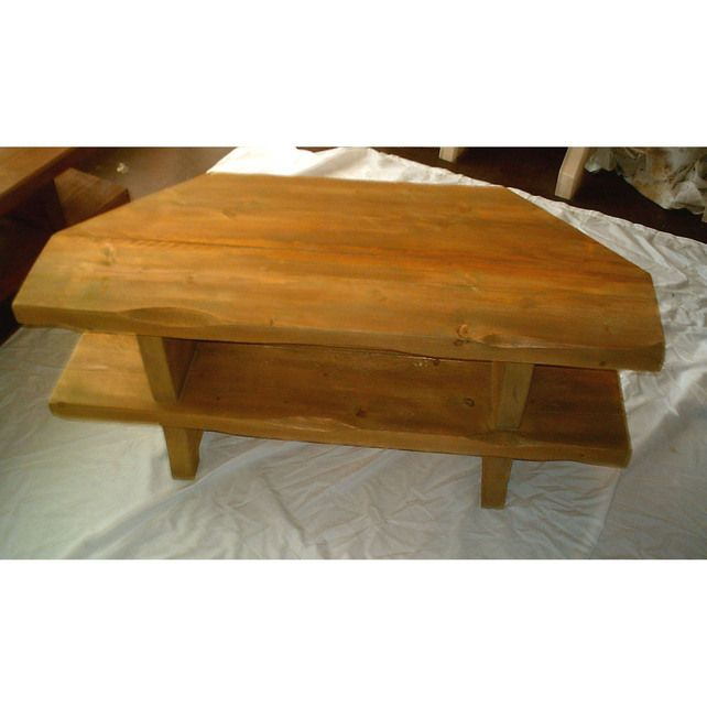 hand made rustic corner tv stand solid wood stained in antique pine
