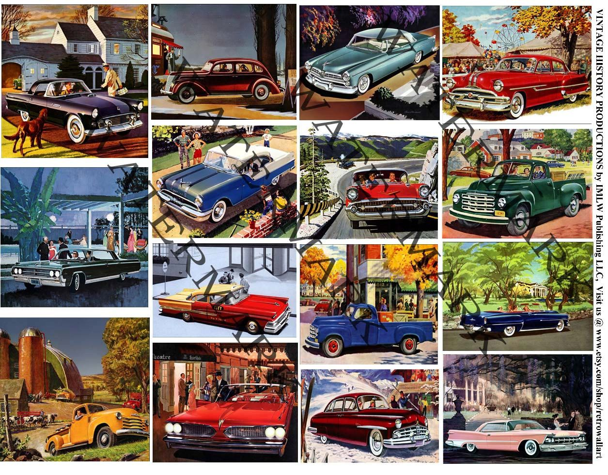 Vintage Car Illustrations Printed Automobile Stickers Car Sticker Pack Classic Car Clip Art Garage Collag Vacation Scrapbook Illustration Print Photo Stickers