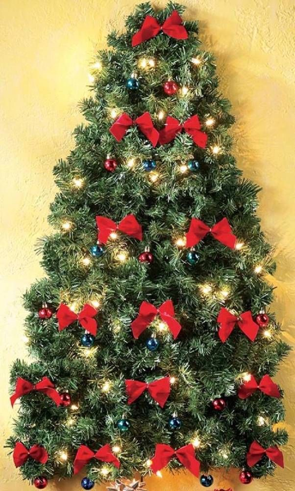 Decorated Pre-Lighted Wall Hanging Christmas Tree w/ Ornaments & Red Bows  41