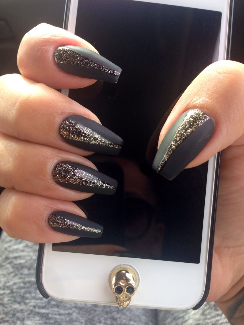 Matte black coffin nails   Nails Art   Pinterest   Coffin nails ...