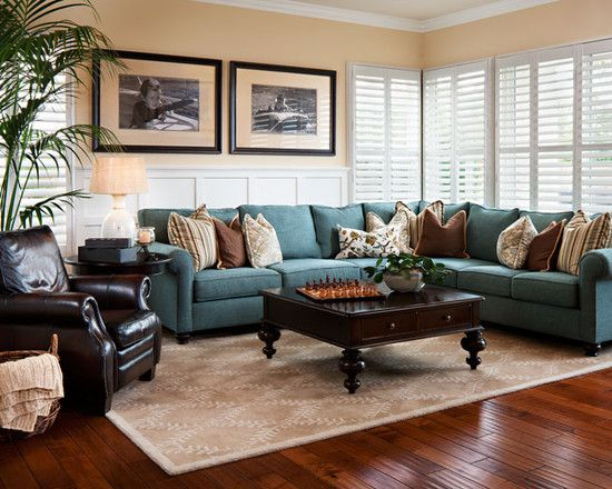 Family Room With Brown Sectional Sofa Design Pictures Remodel Decor And Ideas Traditional Design Living Room Living Room Remodel Contemporary Family Rooms
