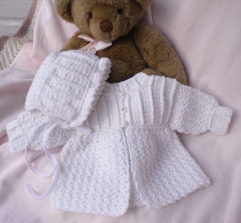 Crocheted Baby Girl Sweater W Bonnet White Newborn 0 3mo