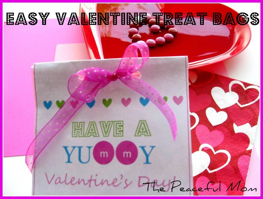 FREE Valentine Printable for these easy Valentine Treat bags!