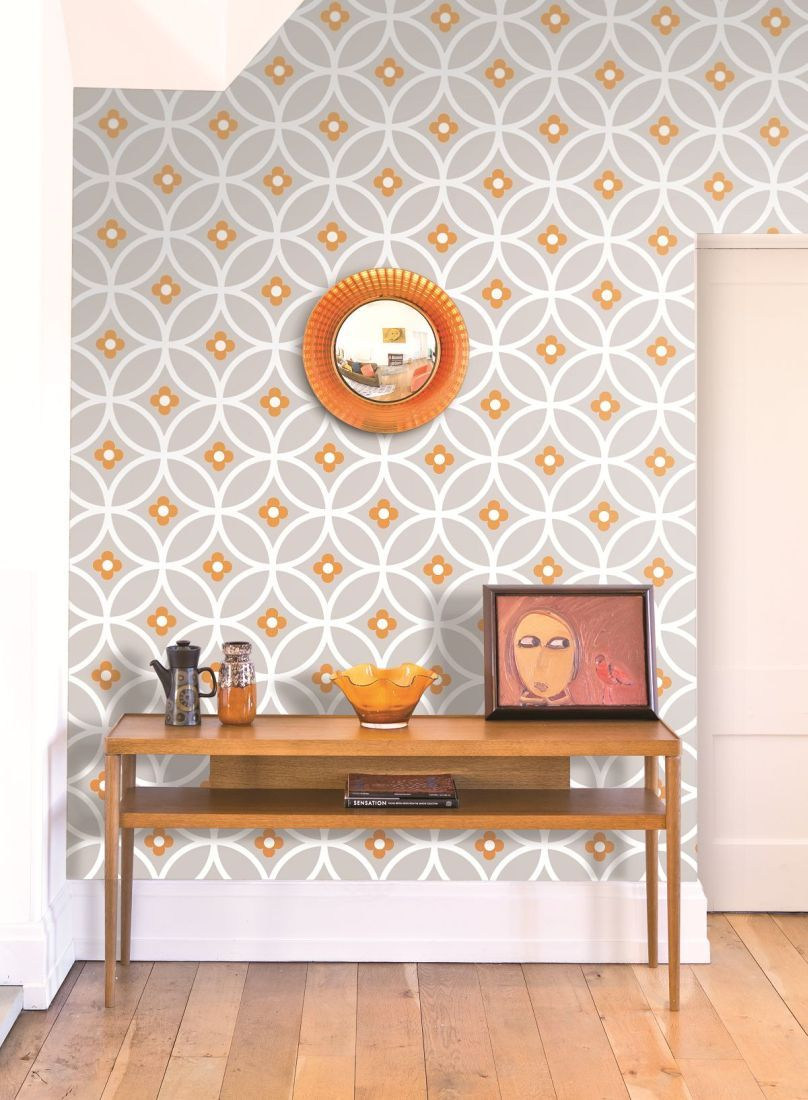 Gorgeous Retro Geometric Wallpaper Design By Layla Faya In The Lovely Orange Living Room