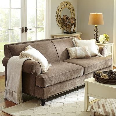 tan carmen sofa taupe polyester home decor furniture