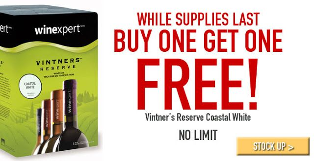 Homebrew Finds: Midwest Supplies: Vintner's Reserve Coastal White, Buy One Get One Free