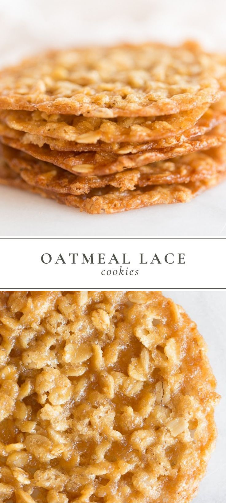 Oatmeal Lace Cookies are a thin chewy oatmeal cookie with a deliciously sugary taste that are stackable for easy gifting Lace Cookies are made with just 7 staple ingredie...