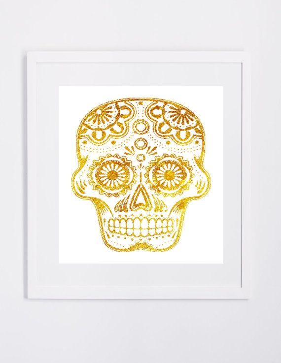 Gold Skull Graphic Wall Art Printable Modern Instant Downloadable ...