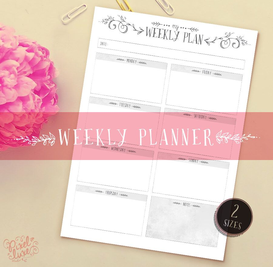 Weekly Planner ~ A Lovely Little Weekly Planner to organise your week by PixelLuxe on Etsy (null)