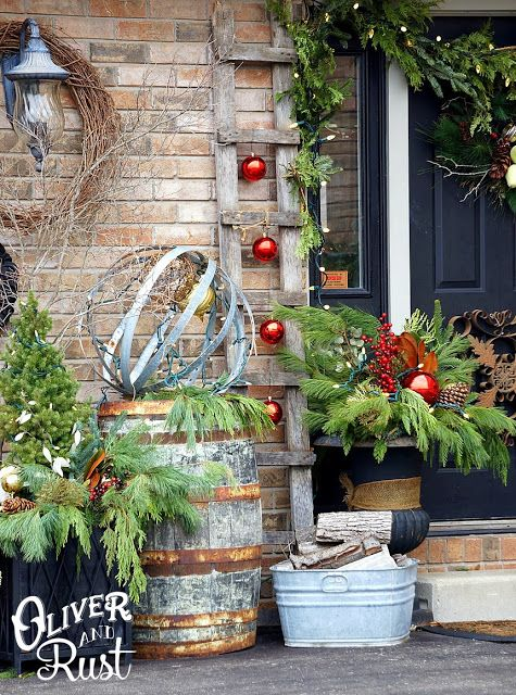 Oliver And Rust Christmas House Tour Part 4 The Outdoors Christmas Decorations Rustic Front Porch Christmas Decor Outdoor Christmas Decorations