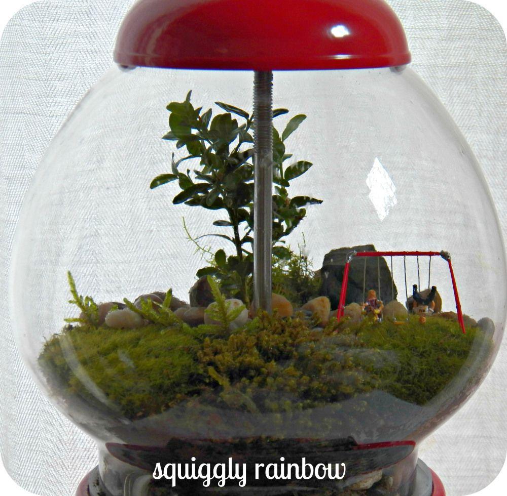 squiggly rainbow Terrarium, Mini garden, Bubble gum machine