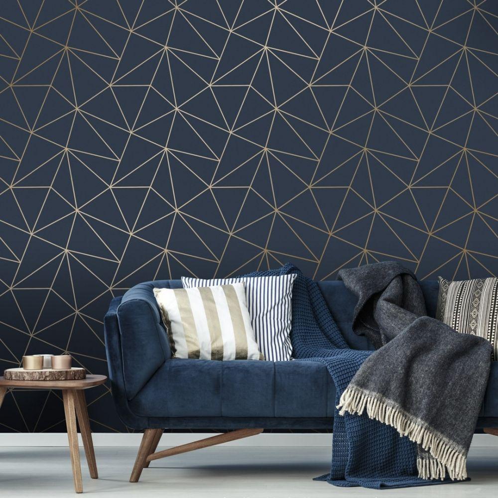 Best I Love Wallpaper Zara Shimmer Metallic Wallpaper Navy Gold 400 x 300
