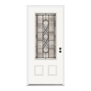 jeld wen ascot 3 4 lite primed white steel entry door with