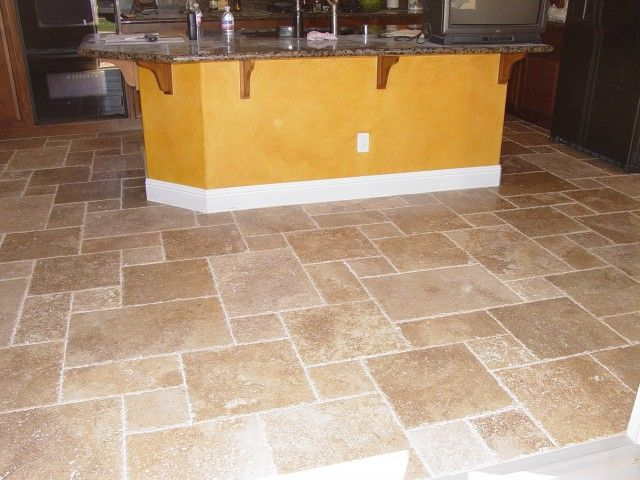 tile floors -noce versailles travertine pattern. The gold island base color  doesn't