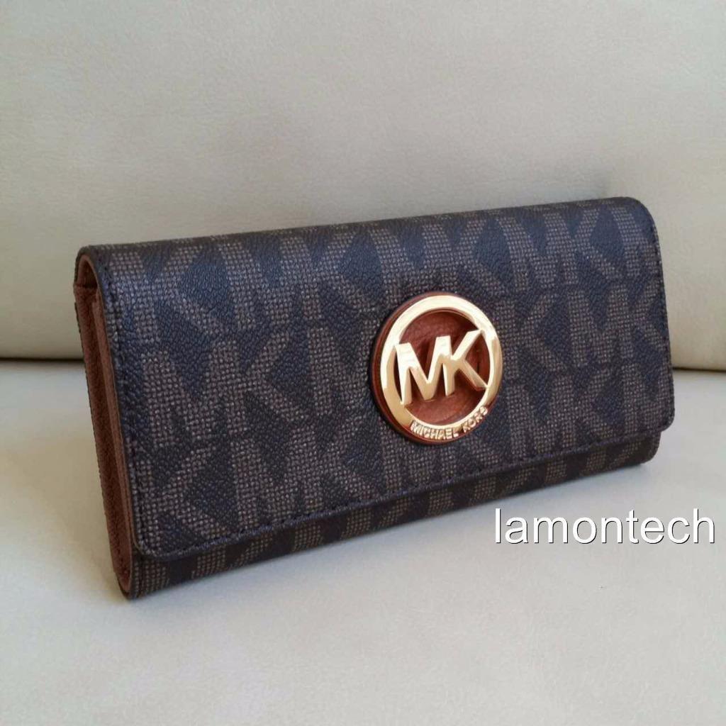 bb218f10fb6ec4 NWT Michael Kors Brown PVC Fulton Flap Continental MK Signature Wallet  Purse $88.89