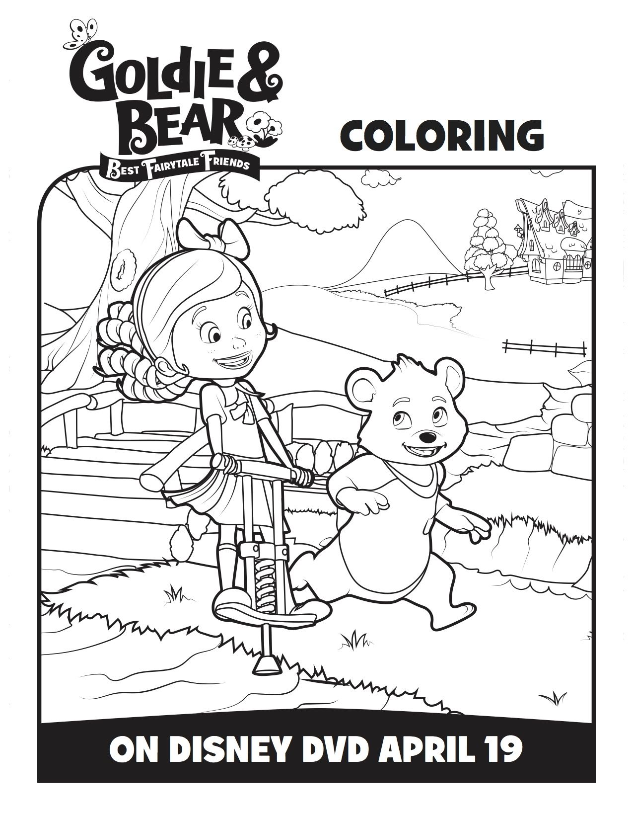 goldie and bear coloring pages Disney Goldie & Bear Best Fairytale Friends Coloring Page | Disney  goldie and bear coloring pages