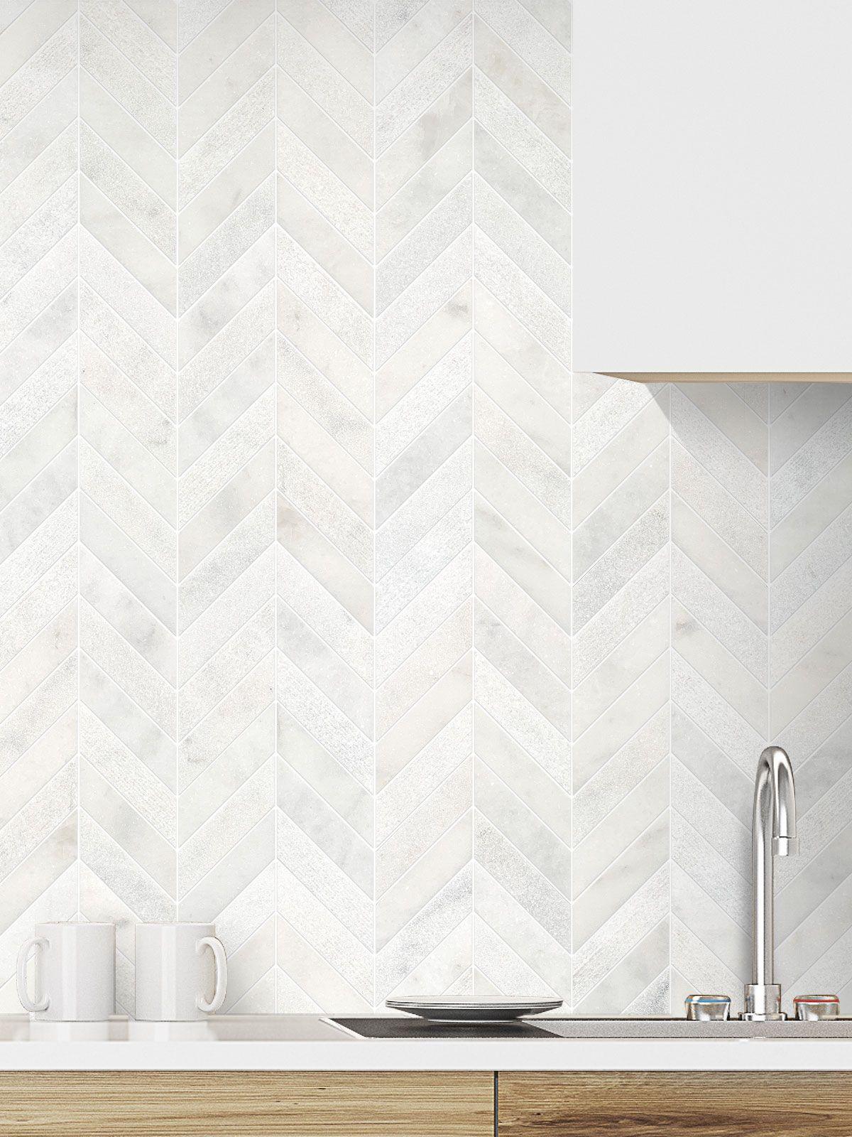 White Modern Marble Chevron Backsplash Tile Backsplash Com Kitchen Backsplash Designs Backsplash Kitchen White Cabinets White Kitchen Backsplash