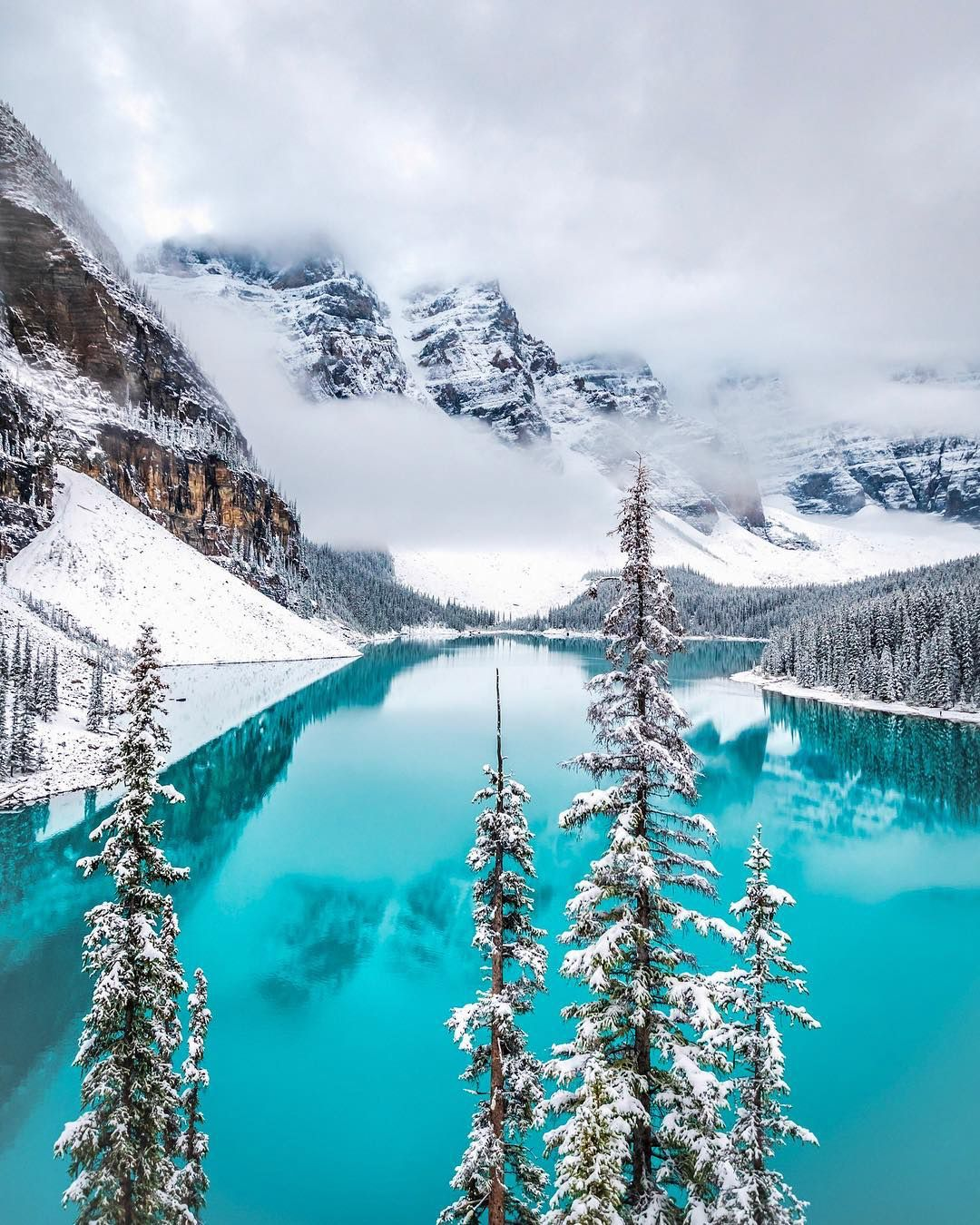 Winter Arrived Early At Moraine Lake Banff Alberta