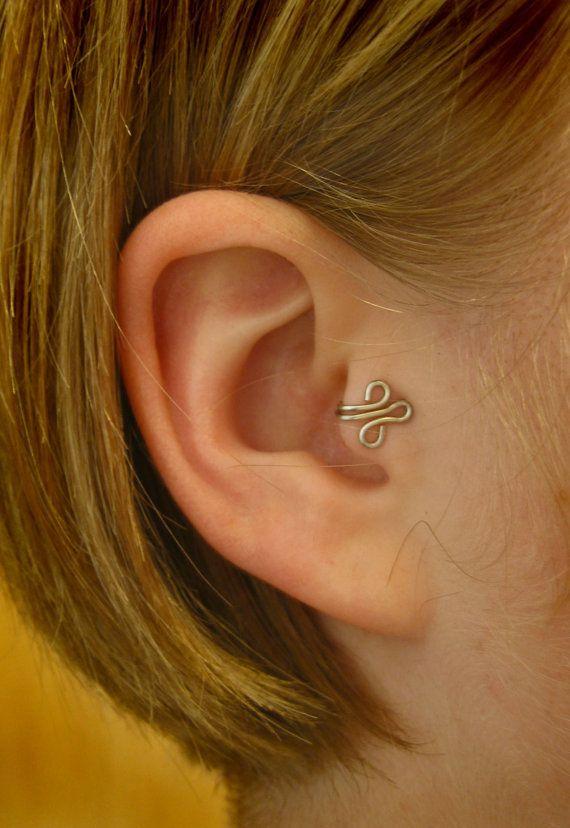 Fleur Left Tragus Cuff Silver Ear Cuff Wire Loop By Zydesigns Art