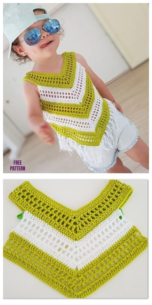 Easy Crochet Little Girl Summer Top Free Crochet Pattern – Video #crocheteasyp…