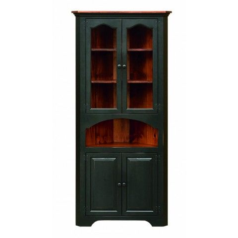 Large Colonial Corner Cupboard With Glass | Peaceful Valley Furniture