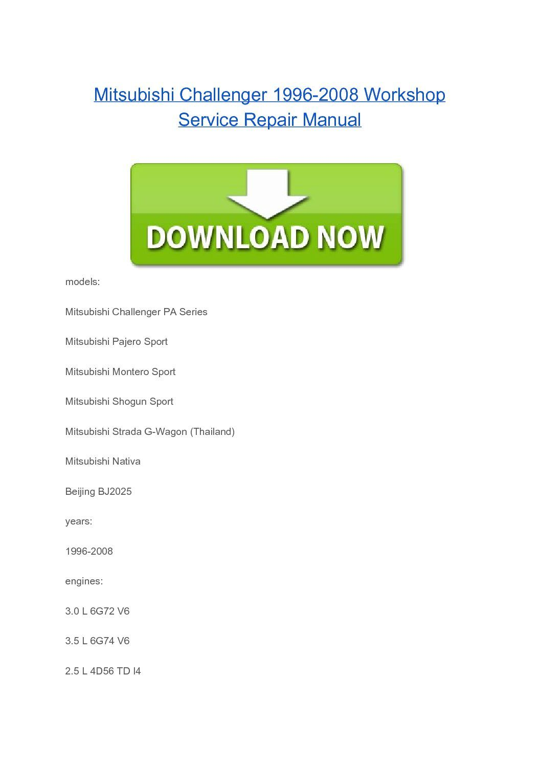 Mitsubishi Shogun Sport 1996-2008 PA Series workshop service repair manual