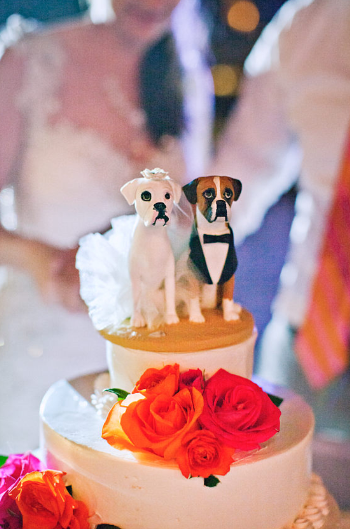 Boxer dogs wedding cake topper. Polymer clay. Dog cake