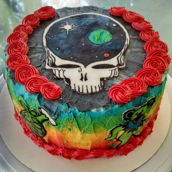 Steal Your Face Tie Dye Grateful Dead Cake 60th Birthday