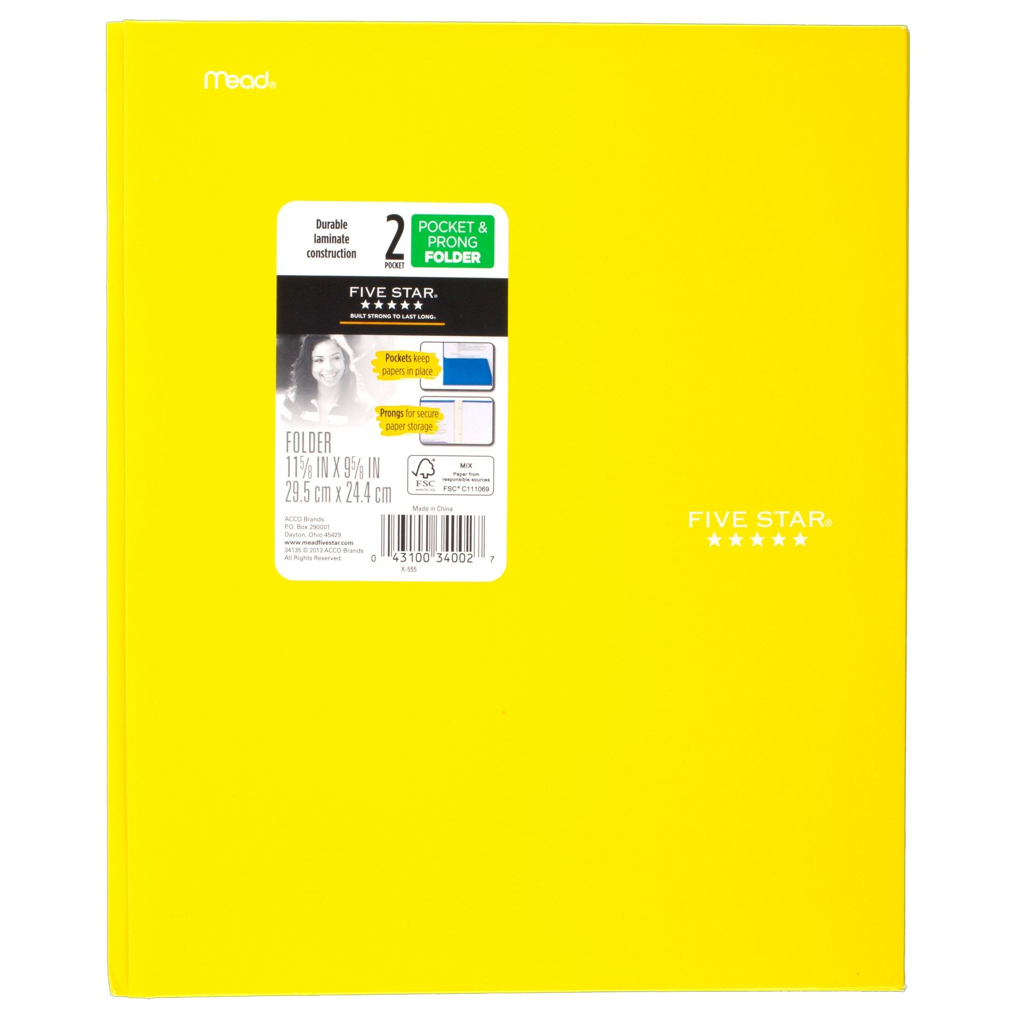 Five Star Paper Folder With Prongs 2 Pocket Yellow