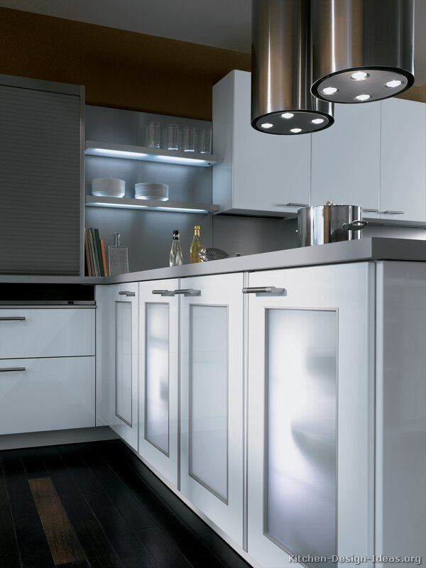 Frosted glass cabinet doors and lighted shelves (Alno.com, Kitchen-Design-