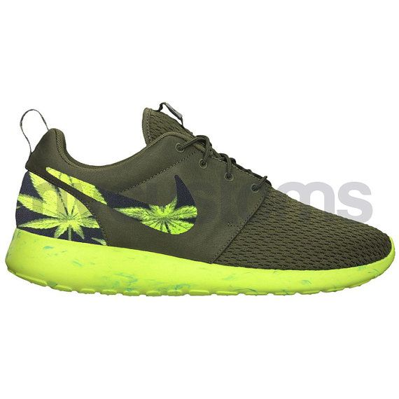 Nike Roshe Run Olive Green Marble Marijuana Leaves by NYCustoms