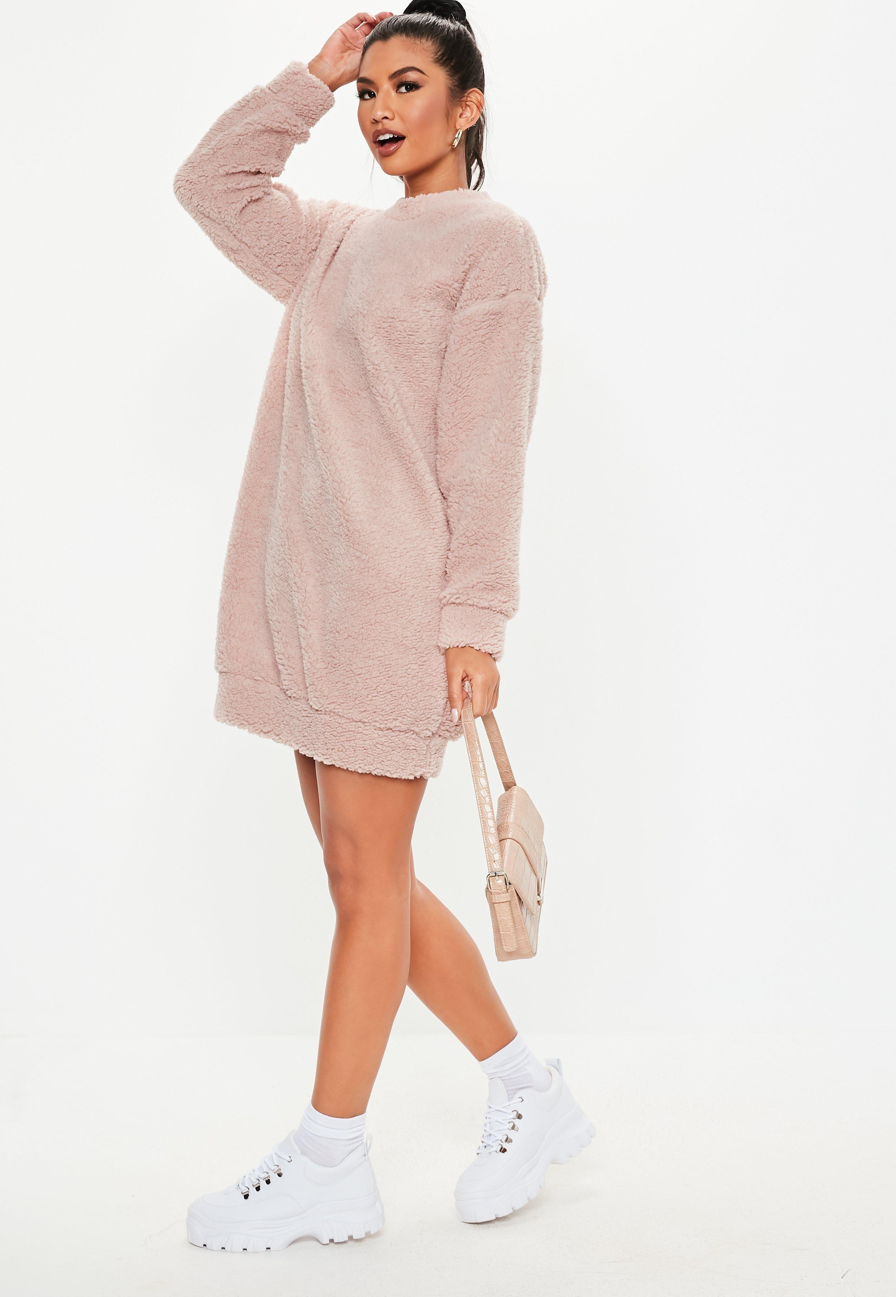 a538e9672cf Petite Pink Borg Teddy Crew Neck Sweatshirt Dress  Sponsored  Borg
