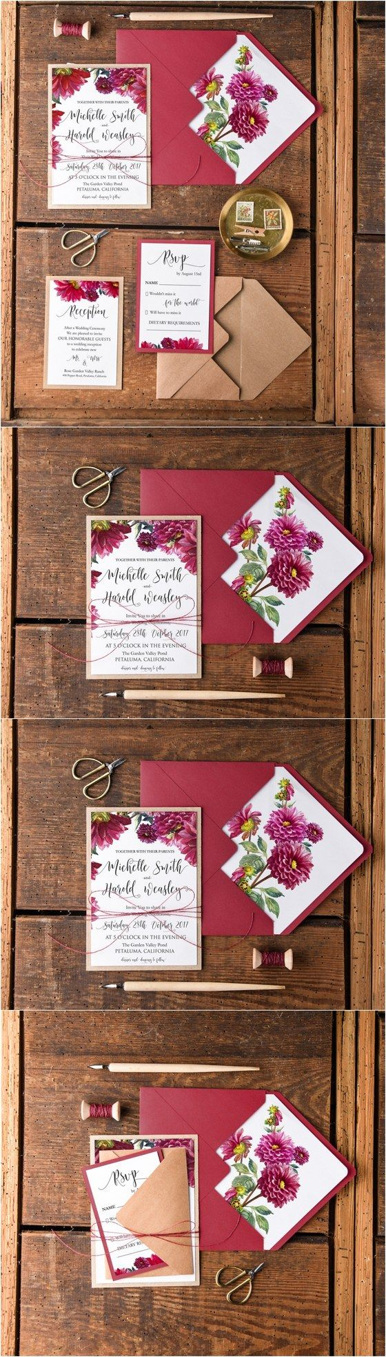 Fall wedding ideas - Rustic fall deep red watercolor wedding ...