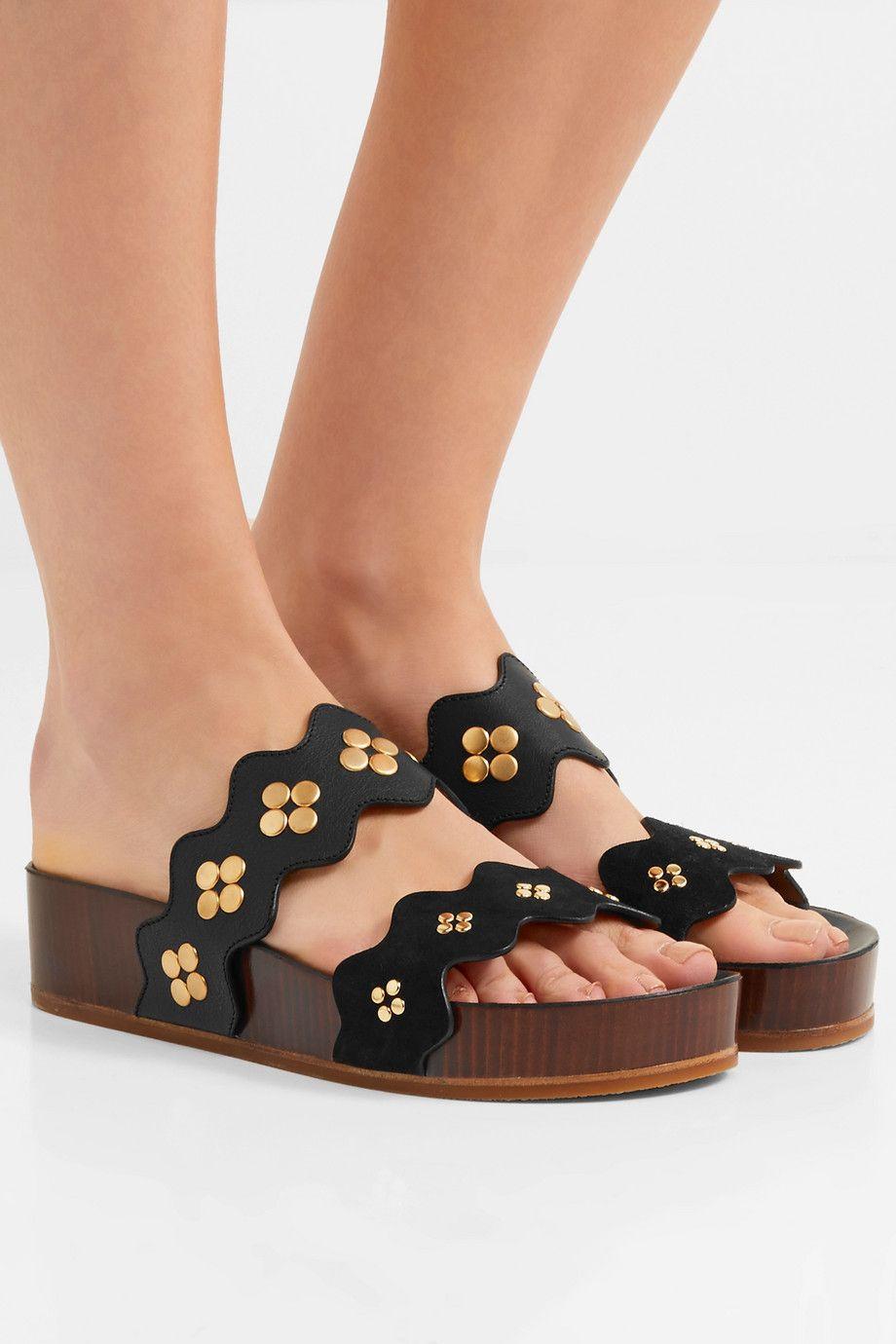 Chloé Lauren Leather Slides qxZXG