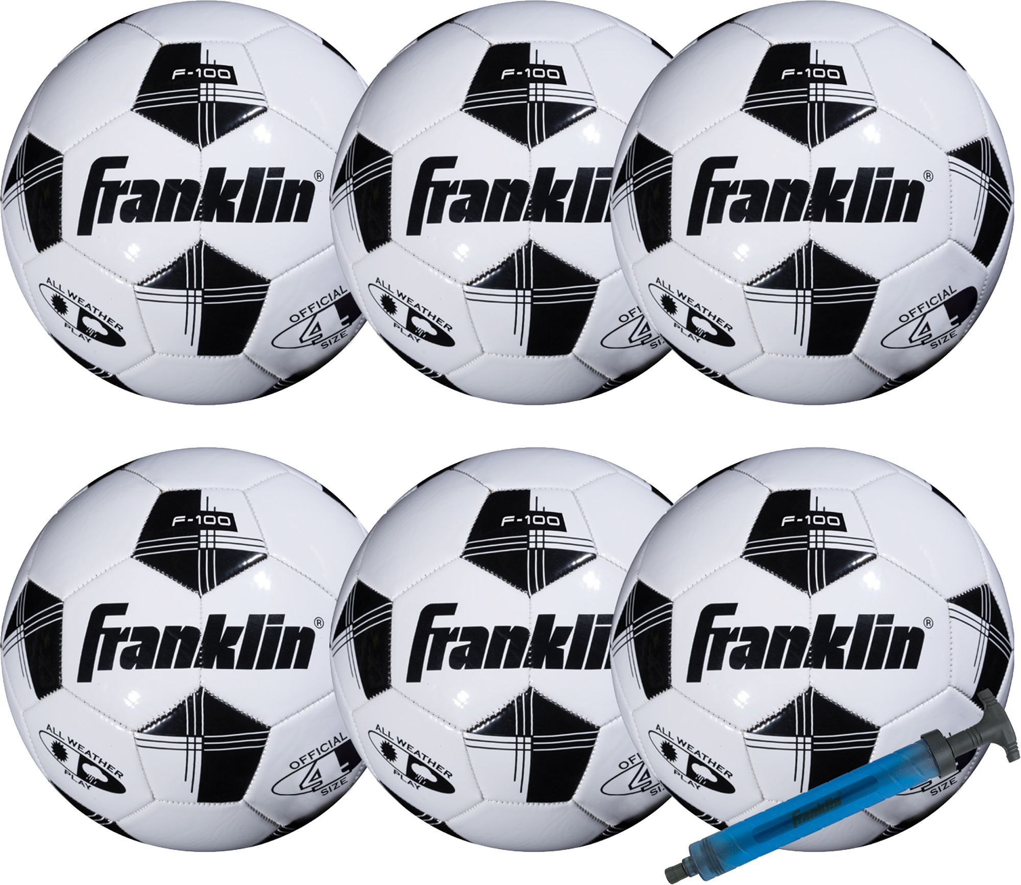 Size 3-6 Pack Franklin Sports Competition 100 Soccer Ball with Pump