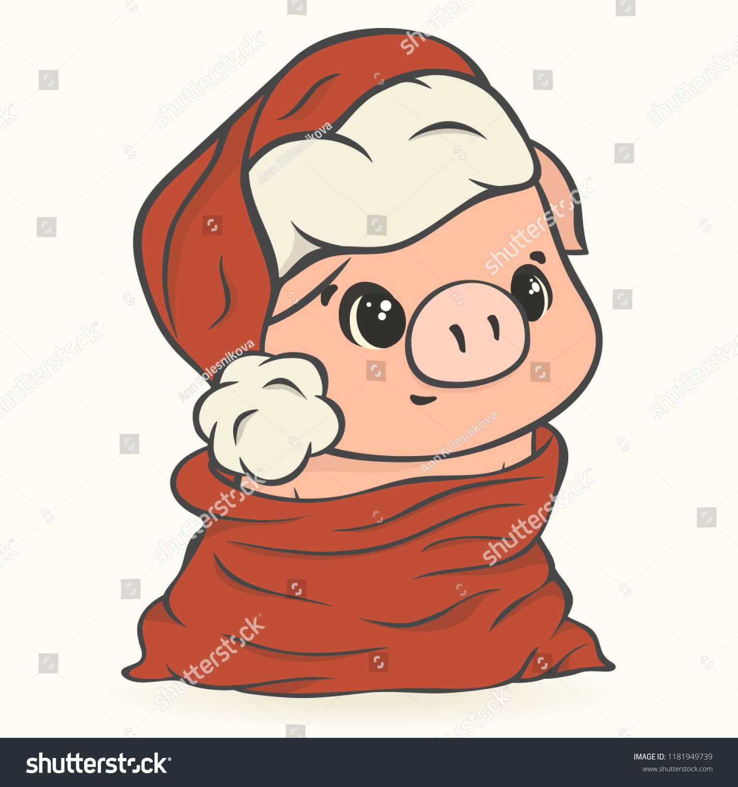 bc732072c4951 Cute pig in Santa s hat in red bag with gifts vector image isolated.  Cartoon piglet
